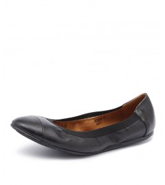Walnut Ava Leather Black Ladies Ballet Flat